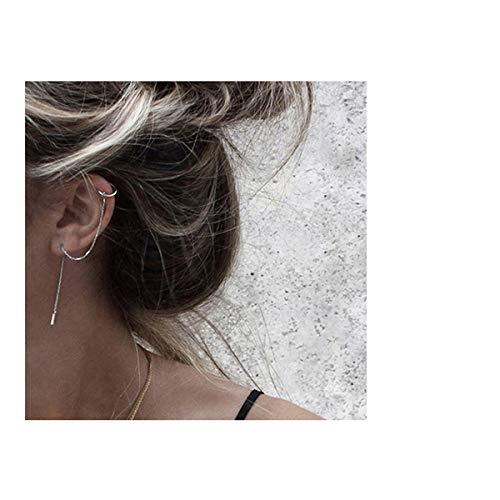 SLUYNZ 925 Sterling Silver Cuff Chain Earrings Wrap Tassel Earrings for Women Crawler Earrings (silver) (Piercing Earring Cuffs)