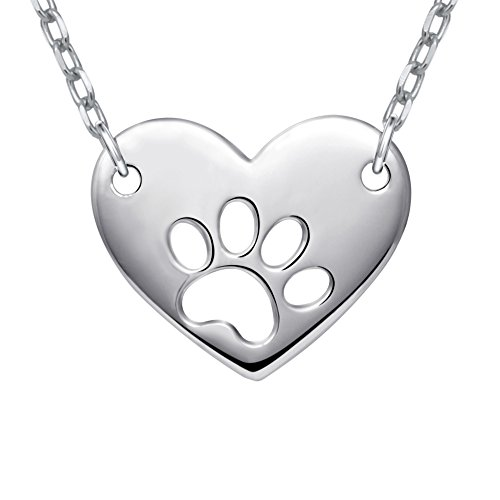 - Apotie Sterling 925 Real Silver in White Gold Dog paw Print with Heart Pendant Necklace for Women or Girlfriend Jewelry