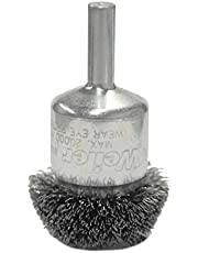 """Weiler 10035 Circular Flared Crimped Wire End Brush, 1-1/4"""", 0.08"""" Steel Fill"""