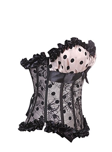 Women's Polka Dots Corset with Strap & Padded Cup Bustier Plus Size Beige