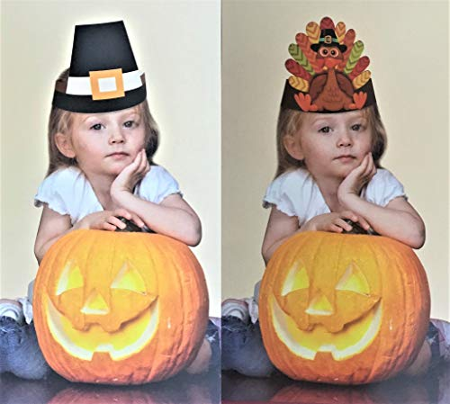 Paper Pilgrim Hat (Thanksgiving 5 Turkey 5 Pilgrim Hats Total Pack of 10 Turkey Decoration for Kids Adjustable Harvest Paper)