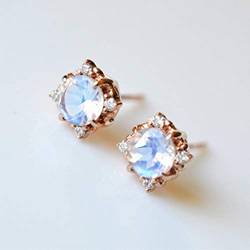 Moonstone Stud Earrings Vintage Rose Gold Moonstone Jewelry Moonstone Diamond Blue Moonstone Stud Earrings Moonstone Wedding Stud Earrings (Diamond Moonstone Earrings)