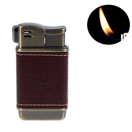 - Honest Tobacco Pipe Lighter - Genuine Leather Adjustbale Soft Flame Refillable Butane Gas Lighter - Boxed