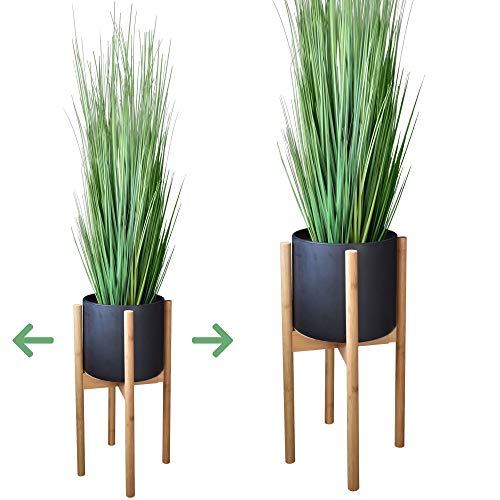 Taste of Tropical Mid Century Plant Stand - Adjustable 8 to 12 inch - Excludes 10 Ceramic Pot - Natural Bamboo - Modern