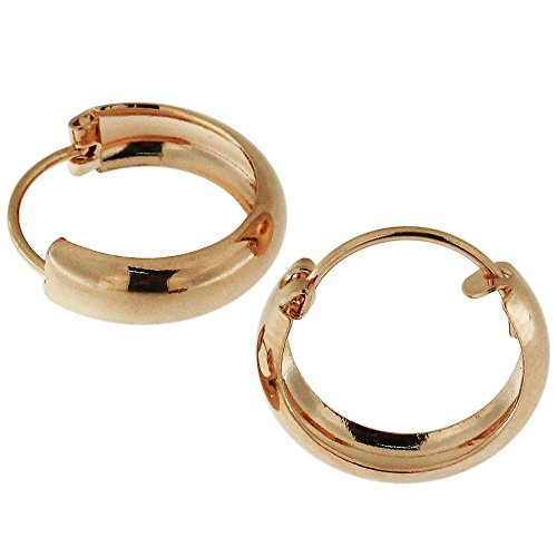 18K Rose Gold PVD 12MM 925 Sterling Silver Plain Classic Hoop Earring Jewelry