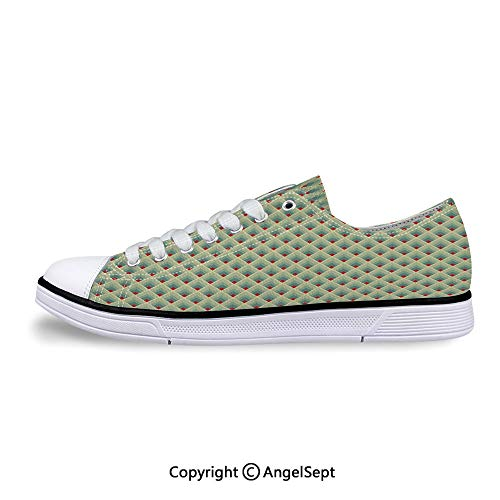 Sneakers for Ladies Triangles Symmetrical Diamonds Contemporary Art Low Top Can