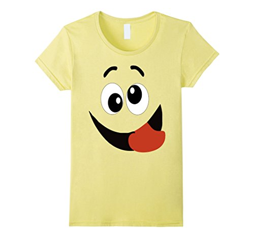 Matching Halloween Costumes For Women (Womens Halloween Emoji Matching Costume TShirt Silly Tongue Out Fun XL Lemon)