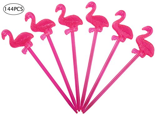 Flamingo Fruit Toothpicks Cupcake Toppers - Birthday Picks Sticks Foods Decorations - Luau/Hawaiian/Tropical Party Supplies (Flamingo Picks)