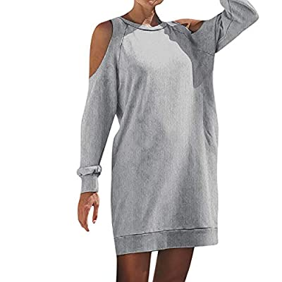 haoricu Womens Off Shoulder Long Sleeve Sweatshirt Pullover Cold Shoulder Solid Tops Blouse