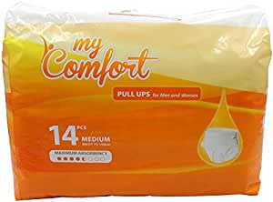 MyComfort Pull Ups for Men and Women Size MEDIUM | Adult Unisex Incontinence Diapers | Waist size 75-100cm