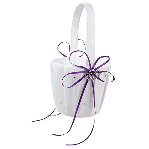 Purple Flower Girl Basket (TOOGOO(R) Double Heart Wedding Flower Girl Basket White Satin Rhinestone Decor Purple Wedding Party Favor)