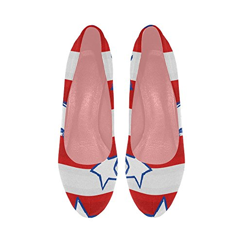 InterestPrint Size Cars Color9 Stars Prin Flag colorful Cartoon High Stripe Pumps Wedge Heel Pattern 11 5 Womens Shoes On Z14q0rZx