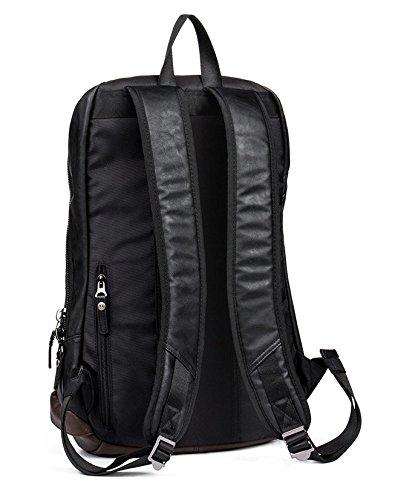 Mefly Mochila de cuero hombres bolsas de viaje bolsas para la escuela masculina clásica Backbag,negro Black