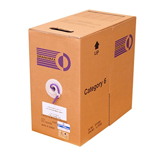 Grandmax CAT6 550MHz Solid PVC Bulk Cable, 1000ft, UTP Pull Box, CMR Rated, 100% Pure Copper, Multiple Colors Available, 4 Pair, 24 AWG/ 1000FT/ PURPLE (Pvc Cable Utp Solid)