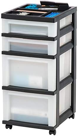 IRIS USA MC-322-TOP 4-Drawer Storage Rolling Cart with Organizer Top, Black/Pearl (594401)