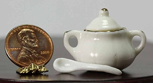 - Dollhouse Miniature White Ceramic Soup Tureen with Ladle and Removable Lid Trimmed in Gold