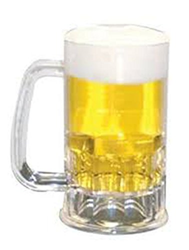 Plastic Beer Mugs Reusable ShatterProof Set of 6 12 oz Perfect Size for Beer. Weighs MERELY 3.5oz EASY to Hold & Handle, STRESSFREE On Arm & Fingers!! Dimple Stein, Rugged, Unbreakable,Clear (6) by USA_Beer_Mugs