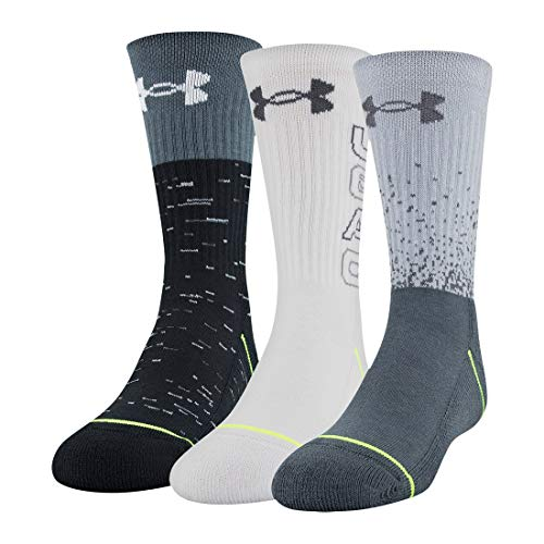 Under Armour Youth Phenom Crew Socks, 3-Pairs, Mod Gray Assorted, Youth Large
