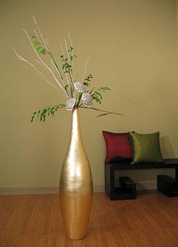 """Green Floral Crafts 41"""" Gold Ellipse Bamboo Floor Vase + Diamond Grass & Silver Birch"""