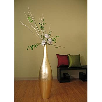"Green Floral Crafts 41"" Gold Ellipse Bamboo Floor Vase + Diamond Grass & Silver Birch"