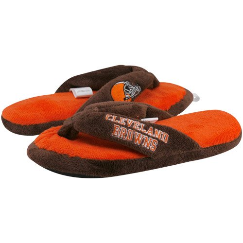 Cleveland Browns Ladies Orange-Brown Plush Thong Slippers (Large) by Football Fanatics