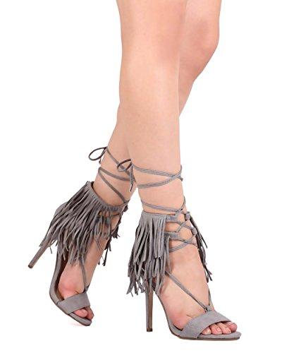 Breckelles Breckelles Ec91 Femme Daim Peep Toe Frange Gilly Cravate Stiletto Sandale Gris