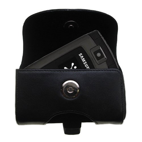 (Designer Gomadic Black Leather Samsung SYNC SGH-A707 Belt Carrying Case - Includes Optional Belt Loop and Removable Clip)