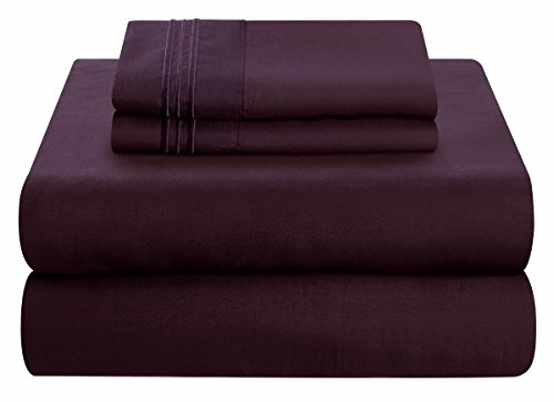 Mezzati Soft and Comfortable Waterbed Sheets Set – 1800 Prestige Brushed Microfiber Collection Bedding (Purple, King Unattached)