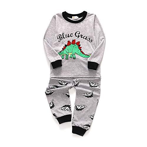 LaLaMa Little Boy Pajamas 2 Pieces Outfit Color Block Cotton Playwear Nightwear Set -