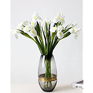 Skyseen 6Pcs Artificial Silk Flower Bridal Real Touch Iris Flower for Wedding Party Banquet Home Decoration White 78