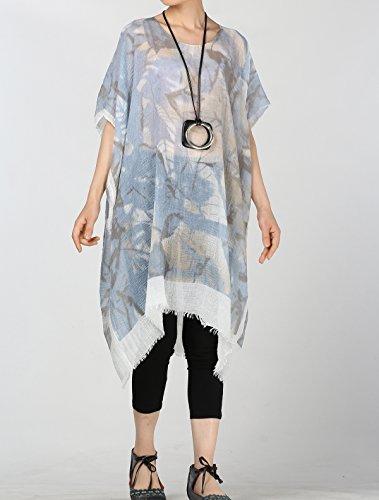 Vogstyle Las nuevas mujeres de cuello redondo manga corta camiseta floja mini vestido noche de impresion Y003 Azul Claro