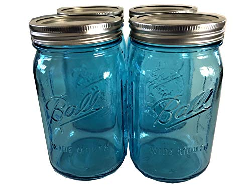 Ball Mason Jar-32 oz. Aqua Blue Glass Ball Collection Elite Color Series Wide Mouth-Set of 4 Jars -