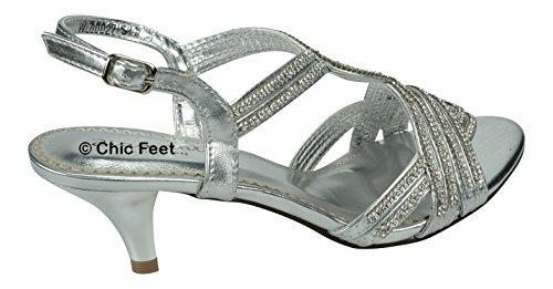 tacón nupcial de baile plateadas de sandalias elegantes bajo fiesta noche de Pies Diamante bodas qXPwA6qx