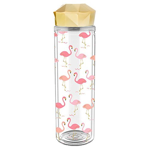 - Slant Collections 20oz Double Wall Acrylic Water Bottle - Faceted Lid - Flamingo