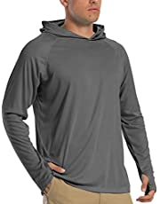 KEFITEVD Mens Sun Protection Shirt Long Sleeve with Hoodie UPF 50 Rashguard Outdoor Fishing Shirts