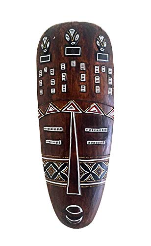 OMA African Mask Good Luck & Protection Blessing Shield Wood Carved & Hand Painted Wall Hanging Decor (Large - 20