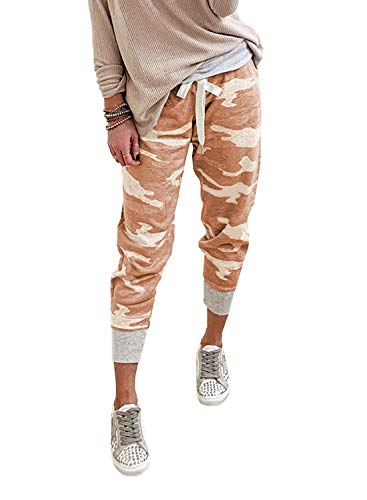 Eytino Women Drawstrings Jogger Sweatpants Camouflage Stretch Lounge Pants with Pockets(S-XL)