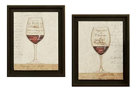 2 PC Wine Glass Framed Prints Kitchen Dining Room Pictures