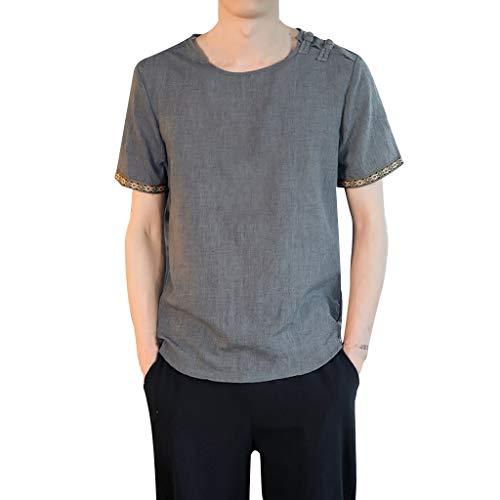 Stoota Men Vintage Henleys Shirt,Baggy Embroidery Linen Solid T-Shirts Blouse Dark Gray -