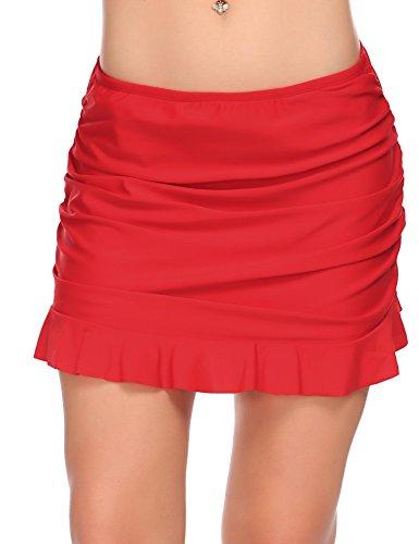 Ekouaer Ruffled Swim Skirt Ladies Summer Swim Dress Beach Skirt Plus Size, Red, X-Large