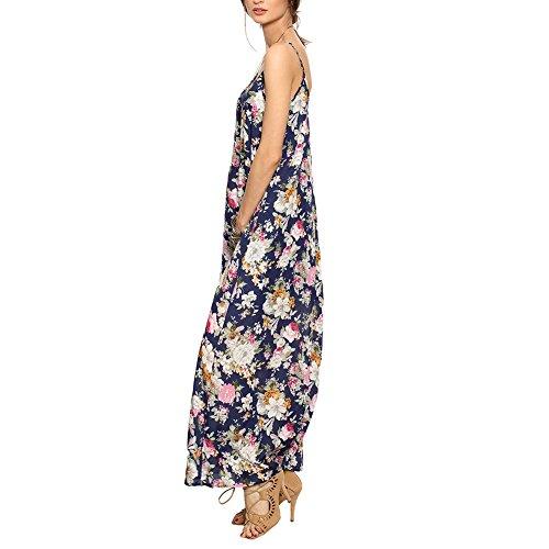 SOLYHUX Casual Fleur bretelles Robe Plage Multicouleur Femme Robe Multicouleur Longue Voyage rIxBwZr8q