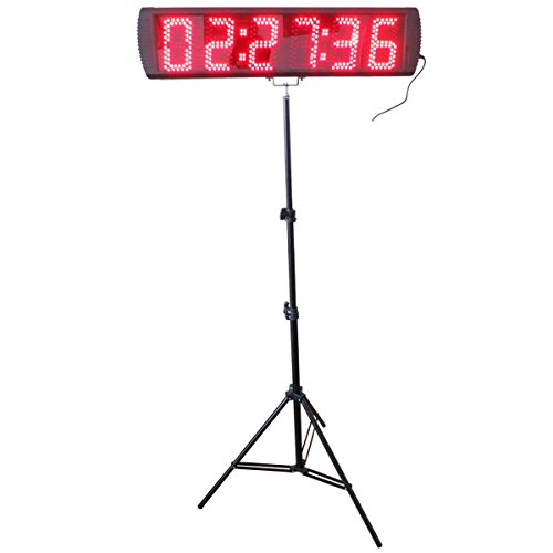 AZOOU Large Red Color LED Race Timing Clock Timer with Tripod 5-inch High Character for Semi-outdoor / Outdoor Running Events IR Remote Control
