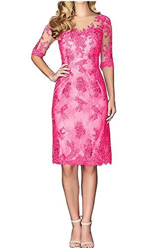 Spitze Abendkleider Partykleider Knielang Pink Langarm Ballkleider Festlichkleider Charmant Damen Brautmutterkleider 5fnwYx1t8