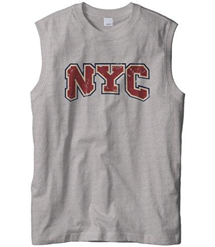 Cybertela Men's New York City NYC Sleeveless T-Shirt (Light Gray, - Light Carmelo One