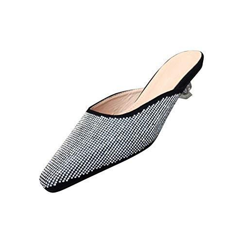 Antideslizante Zapatos Tacón Bling Imitación Sandalias Diamante Durable Cuero Zapatilla Cristal Cuadrado Mujer De Black Verano Muller Respirable Puntera f4q8vO