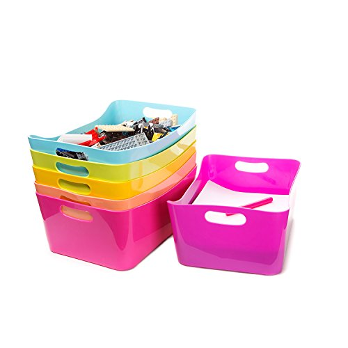 Plastic Bins - for Organizing Toys or Closet. Kid's School Storage Bins with Handles. Holds 8.5