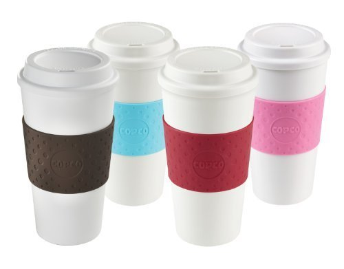 Copco Acadia Reusable To Go Mug, 16-ounce Capacity 4-pack (Pink, Azure, Brown, Red)