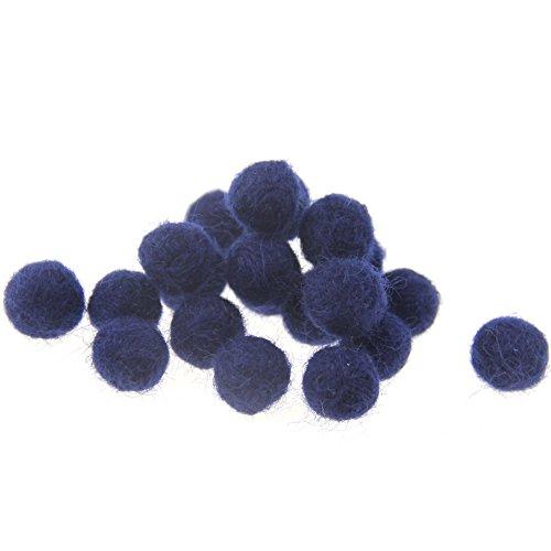 Zasy Needle Felt Balls 100% Pure Wool Beads Dry Felted Balls 15mm Handmade DIY Crafts 20pcs (Navy)