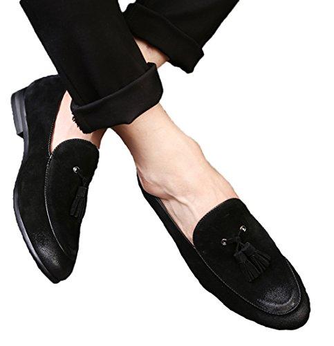 Tasseled conducción Punta Gris puntiaguda sin Zapatos Casual Leather Zapatillas de Santimon Rojo para Brown Black Casual hombre por cordones Nubuck Azul wSBqIOx8q