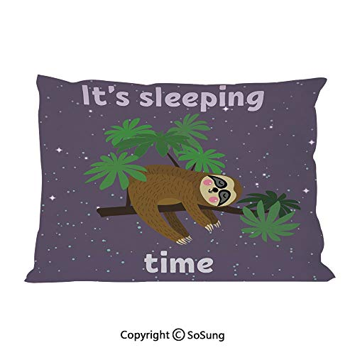 (Sloth Bed Pillow Case/Shams Set of 2,Cute Cartoon Character Sleeping on Branch Jungle Animal in Night Sky Kids Theme King Size Without Insert (2 Pack Pillowcase 36